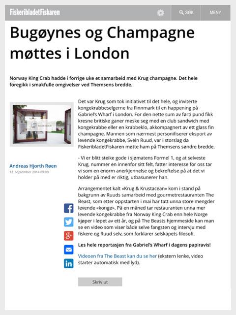 Artikkel i Fiskaren - Bugøynes og Champagne møttes i London